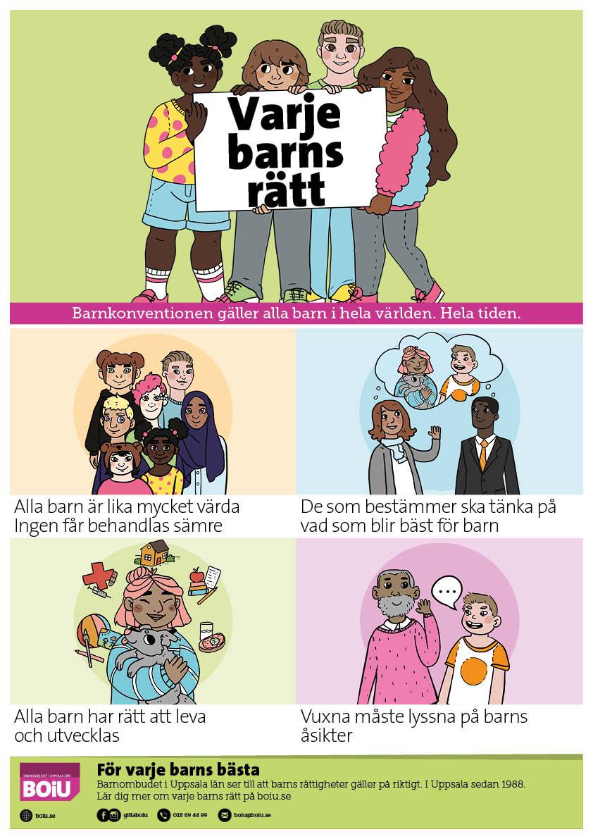 Barnkonventionens 4 principer som affisch