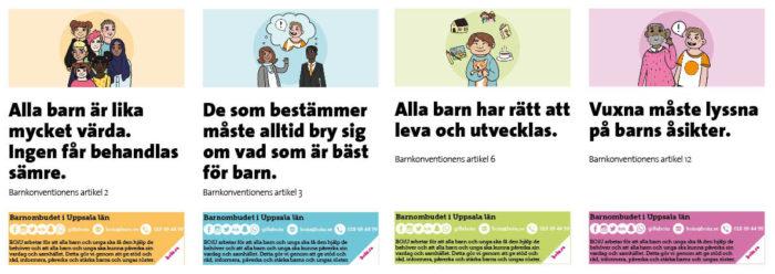 Barnkonventionens 4 principer - artikelkort bredvid varandra